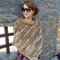 spring and autumn women's genuine rabbit fur Knitted cape fur cloak rabbit fur muffler scarf all-match knitted pullover