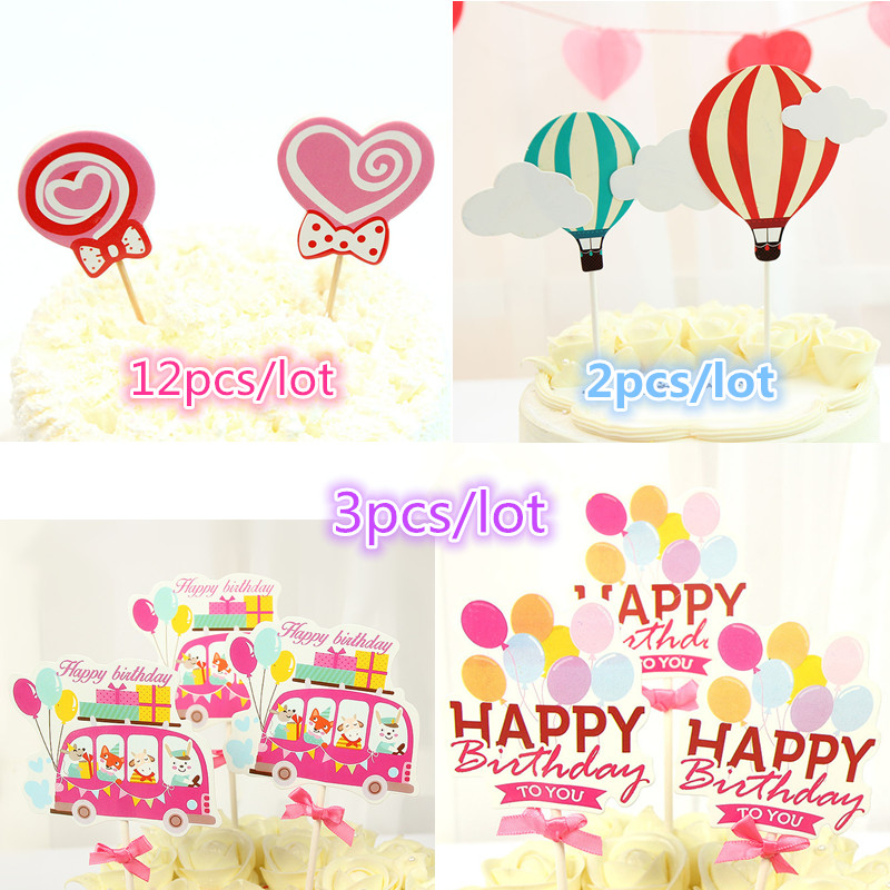 Happy Birthday To You Cake Topper Love Heart Lollipop Hot Air Balloon Cake Flags For Birthday wedding Party Cake Baking Decor