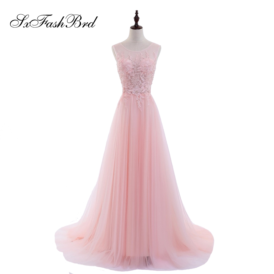Robe De Soiree Elegant Prom   Dress   O Neck With Appliques A Line Tulle Pink Long Formal Party   Evening     Dresses   For Women Gowns