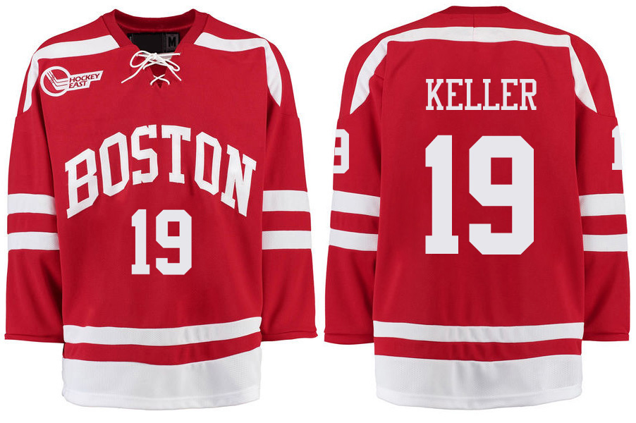 7abb9764c Boston  9 Jack Eichel  7 Charlie McAvoy  19 Clayton Keller  17 Jack  O Callahan  9 Kieffer Bellows College Ice Hockey Jersey -in Hockey Jerseys  from Sports ...