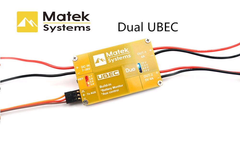 Matek UBEC U4A2P Dualway 4A 5 ~ 12V Built-in Battery Monitor Aux Control For  RC Quadcopter Multicopter
