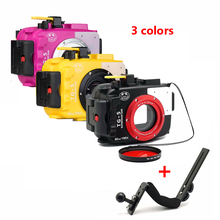 DF Seafrogs 60m/195ft Underwater Diving Waterproof Camera case for Olympus TG5 + Aluminium handle Red Filter 67mm