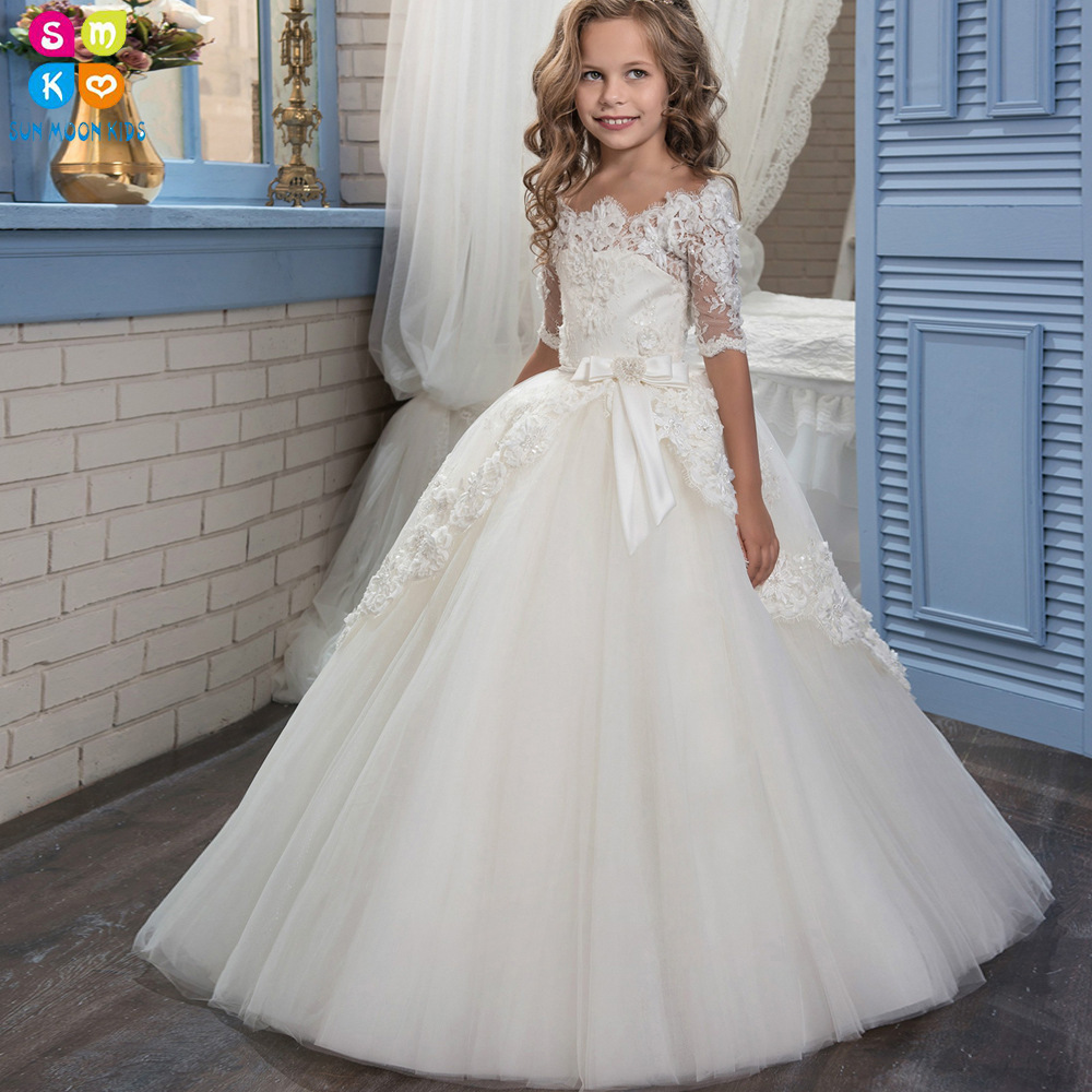 2016 Elegant Ivory Lace Lovely Girl Floor-Length Off-shoulder Appliques Ball Gown Half Sleeves Flower Girl Dresses For Weddings цена 2017