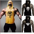 Gold skull vest ZYZZ bodybuilding hoodie Stringer Stringer brand men's hooded vest fitness vest MC0098 Gold shark