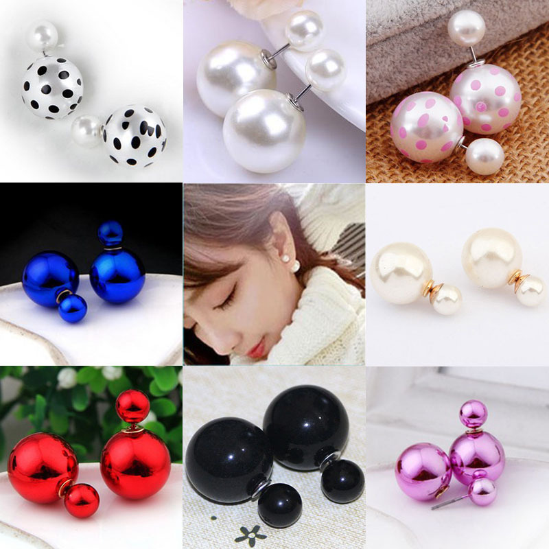 Korean Version Of The Hot New Fashion Double-sided Ball Pearl Earrings And Versatile Mixed Batch Jewelry