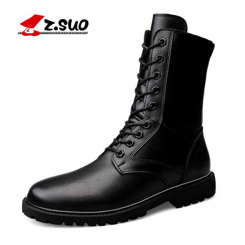 d196c2aed ZSuo зима Для женщин кожа Армейские сапоги женские прочные военные ботинки  Mujer модные сапоги с мехом