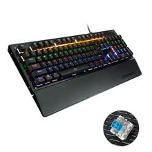 104 ключей проводной K29 USB смешанные подсветкой Эргономичный подсветкой Механическая игровая клавиатура Multimedia Gamer черный/синий переключатель
