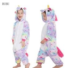 Kigurumi Onesie Дети Единорог пижамы детские животных панда комбинезон с  изображением свинки обувь для мальчиков девочек костюм . d09f02d15b781