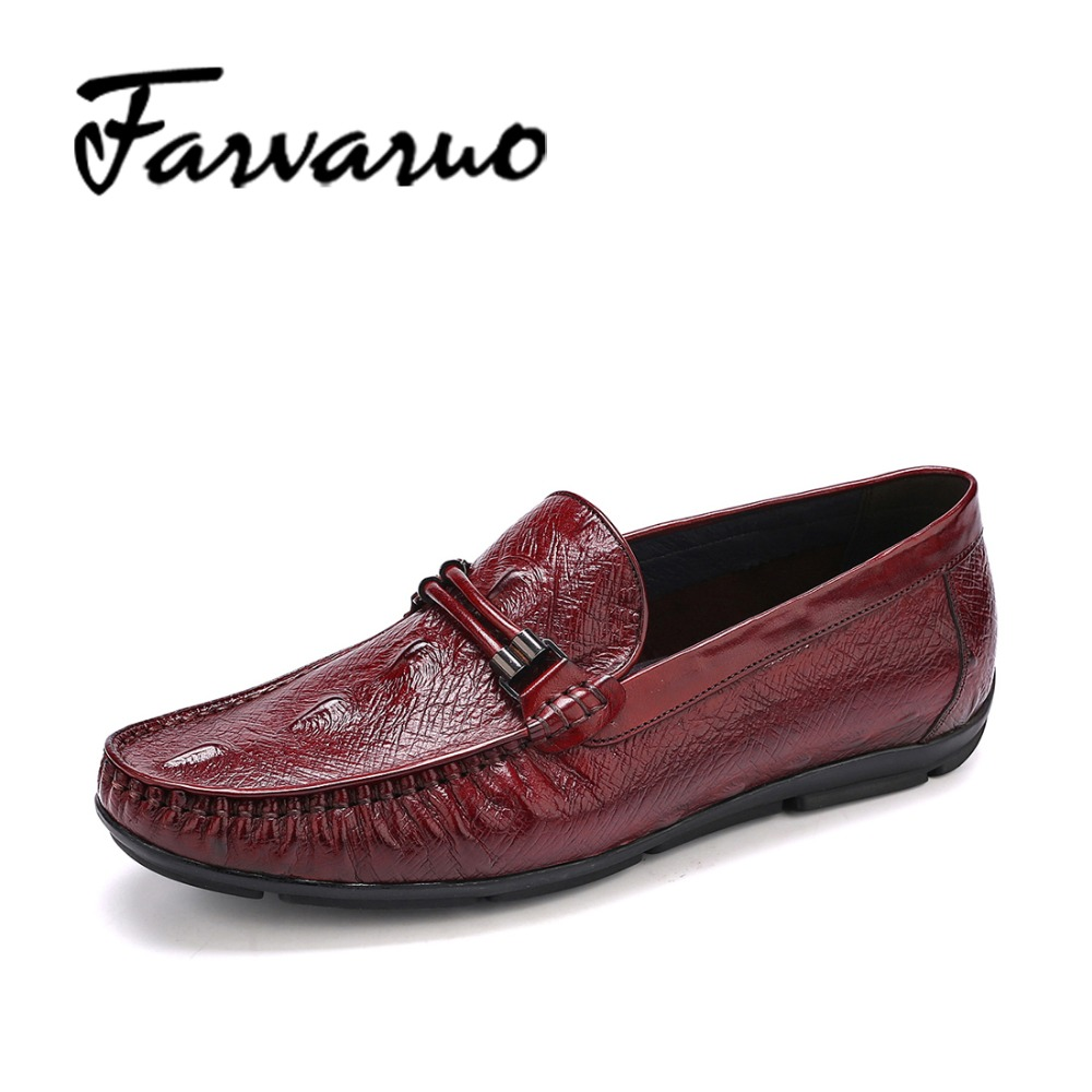Farvarwo 2017 Brand Men's Genuine Leather Luxury Loafers Shoes Flats Slip On Designer Dress Shoes Red Wedding Driving Moccasins farvarwo genuine leather alligator crocodile shoes luxury men brand new fashion driving shoes men s casual flats slip on loafers