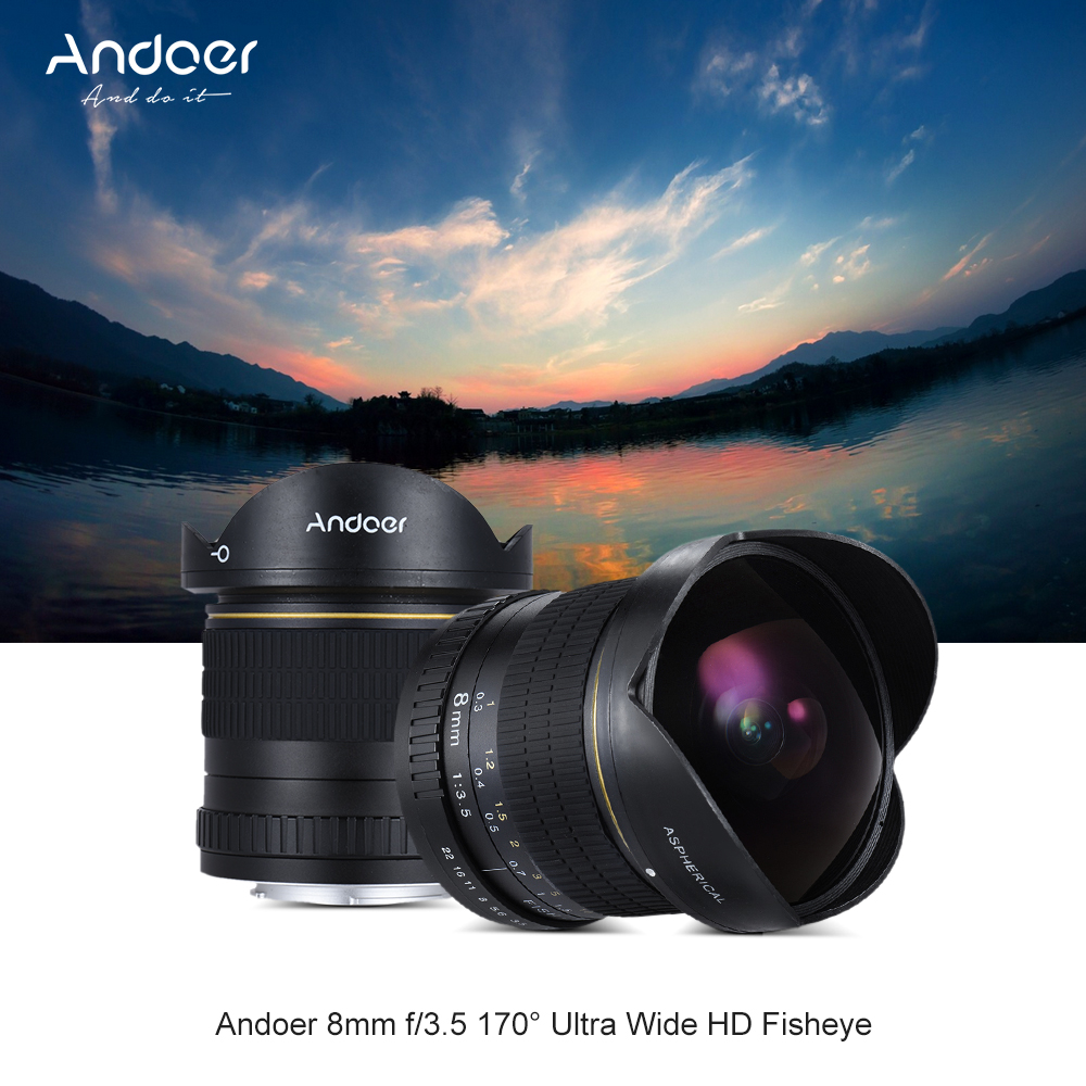 Andoer 8mm f/3.5 170d fisheye ultra wide HD lente asférica lente ...