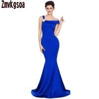 Zmvkgsoa Girls Black And Royal Blue Red Asymmetric Dress Women Autumn Shoulder Design Mermaid Gowns 2017