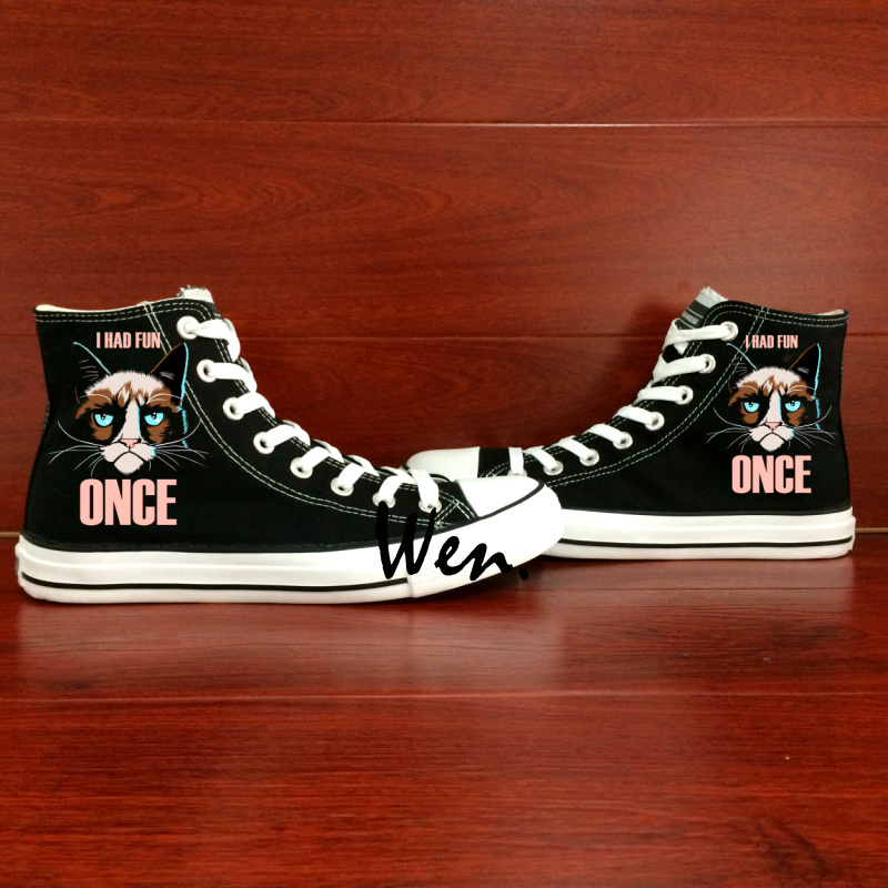 ФОТО Wen Hand Painted Shoes Custom Design Black Casual Shoes Cartoon Cat ONCE Men Women's High Top Canvas Shoes Birthday Gifts