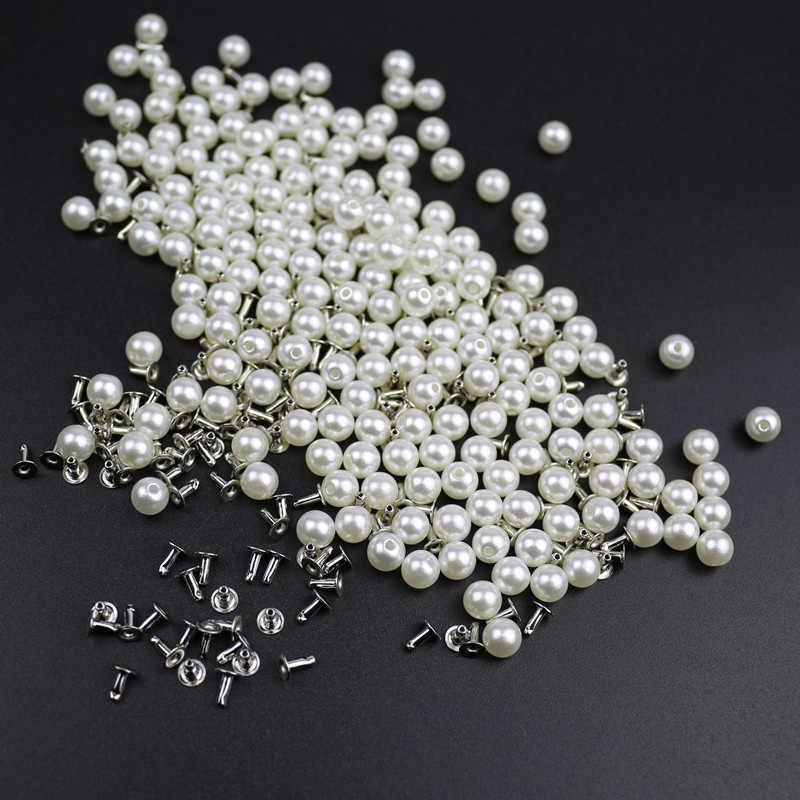 200PC 6MM Imitation Pearl Rivets DIY Garment Accessories Pearl Rivet Spikes For Cloth Hat Bag Crafts Decor Rivets and Pearls Set