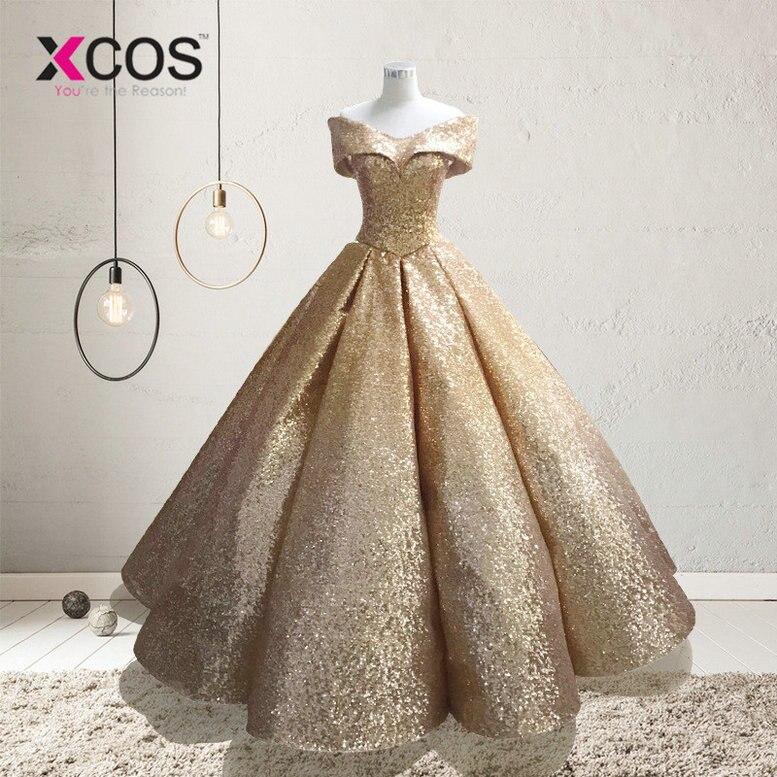 XCOS Lebanon Luxury Prom Gowns Shiny Mix Sequined Long Prom Dresses Empire Abiye Formal Dress Robe De Soiree 2018 Abendkleider