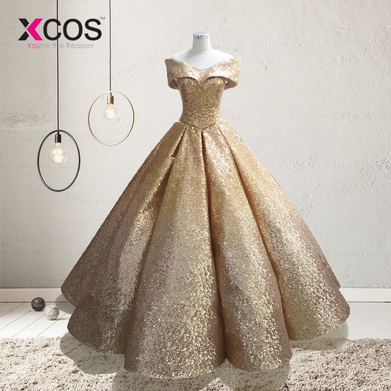 XCOS Lebanon Luxury Prom Gowns Shiny Mix Sequined Long Prom Dresses Empire Abiye Formal Dress Robe De Soiree 2018 Abendkleider
