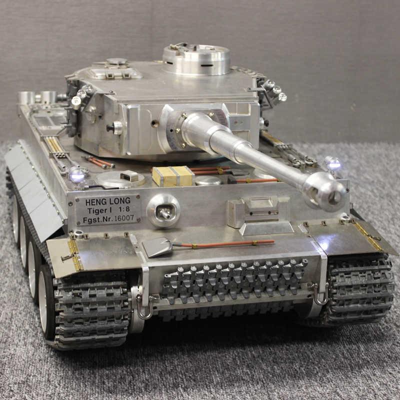 Asli Henglong 1/8 Skala Besar Semua Metal Bahasa Jerman Tiger Aku Listrik Remote Control Model Tank 2.4G Air