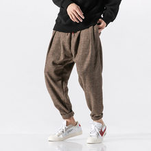 Mannen Winter Dikke Warme Wollen Casual Plaid Broek Mannelijke Losse Fashion Harembroek Japan Streetwear Hip Hop Broek Jogger Joggingbroek(China)