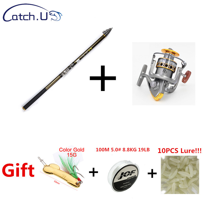 Catch.U Spinning Fishing Rods Combo Telescopic Fishing Rods Set Carbon Fiber Pole Travel With Lure Line Reel Spinning Rod