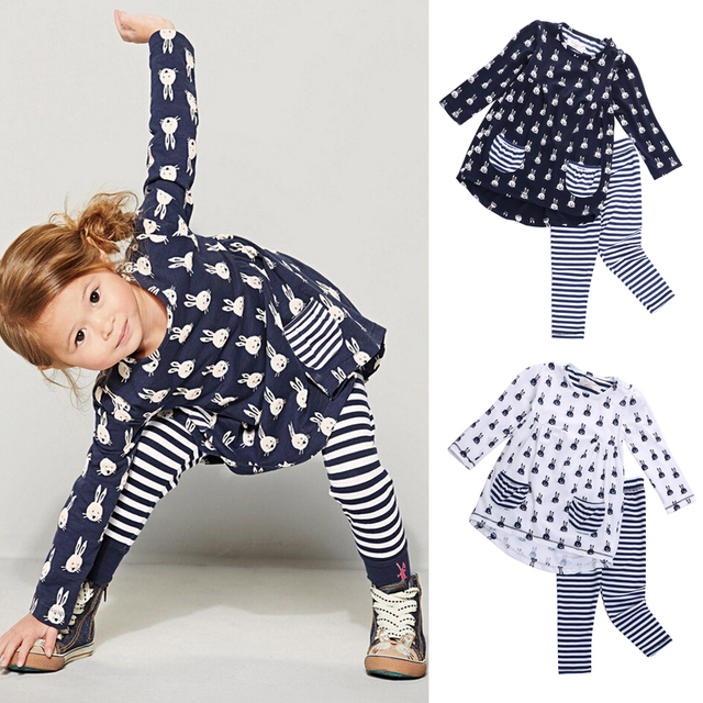 22a2f06747ae Cute Kids Baby Girl Clothes Bunny Print Blouse Dress+Leggings Pants  Children Set Outfits