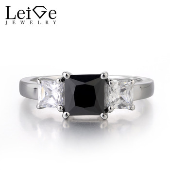 Leige Jewelry Genuine Natural Black Spinel 925 Sterling Silver Ring Princess Cut Black Gemstone Anniversary Wedding Bnad