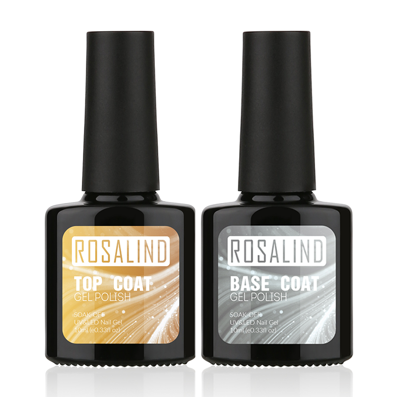 ROSALIND P+Black Bottle 10ML Top Coat and Bace Gel Nail Polish Art Semi Permanent UV LED Soak-Off Glue