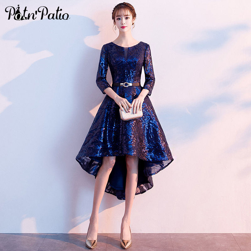 2019 New Sequined Navy Blue   Prom     Dresses   Elegant O-neck High Low   Prom     Dresses   Plus Size With 3/4 Sleeves