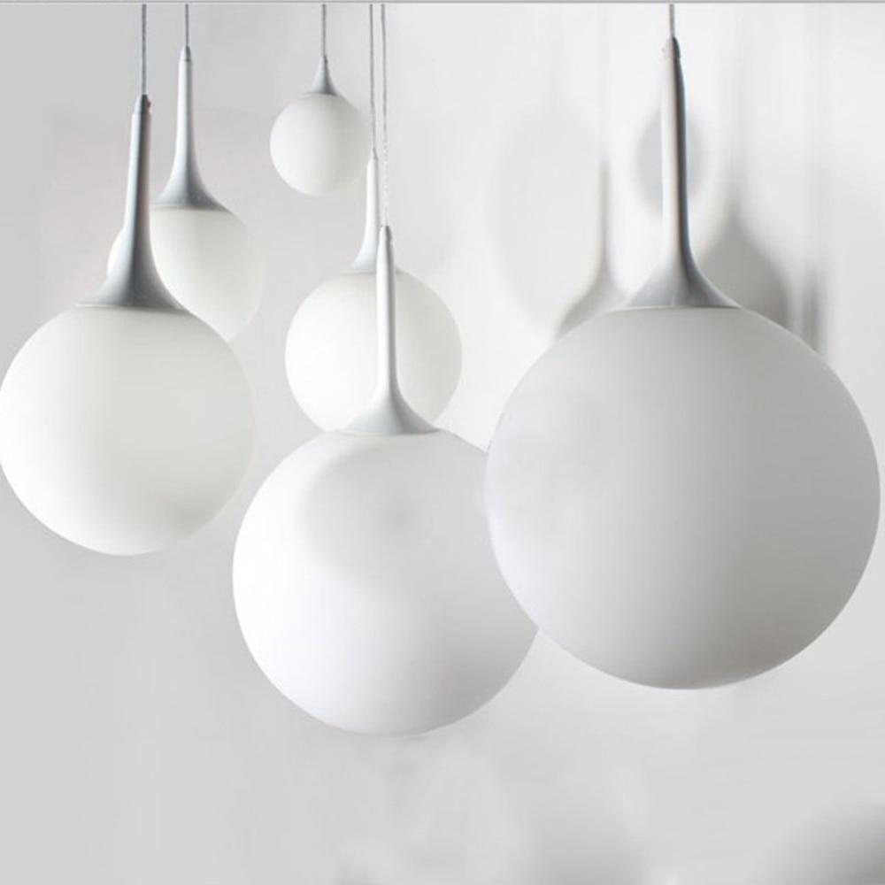 Modern pendant lights globe glass hanging lamp for kitchen for Modern white pendant lighting
