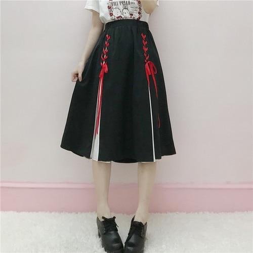 Japanese retro long skirts female Summer 2018 new soft sister saia wild high waist straps Mixed colors vadim A word Maxi Skirt