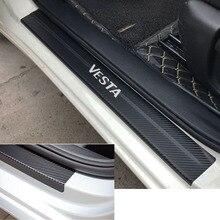 Carbon Fiber Vinyl Sticker Car Door Sill Protector Scuff Plate For LADA VESTA