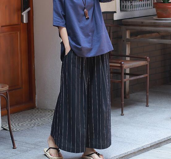 Coton La Jambe Bleu Lâche Pantalon Nouvelle Lin Mélange Rayé Plus Mode Femmes De Haute Ealstic Taille Printemps Sgy0804 Large Automne FrCFq