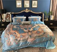 Роскошные египетские хлопковые королевские постельные принадлежности набор King queen размер 4 шт. синий Бохо покрывало Шелковистое одеяло/под