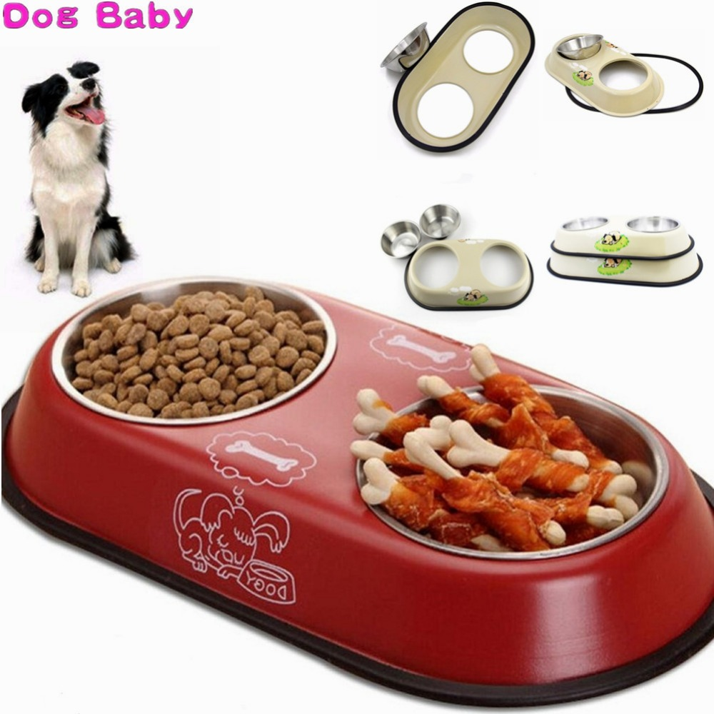 DOGBABY Cat Bowl Stainless Steel Seal Double Bowl Cats Feeders White Red Color Pet Tableware With Water Dogs Bowl Free Shipping