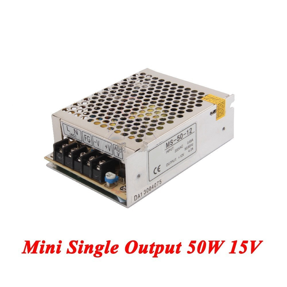 MS-50-15 Mini switching power supply 50W 15V 3A,Single Output smps for Led driver,voltage converter AC 110v/220v to DC 15v