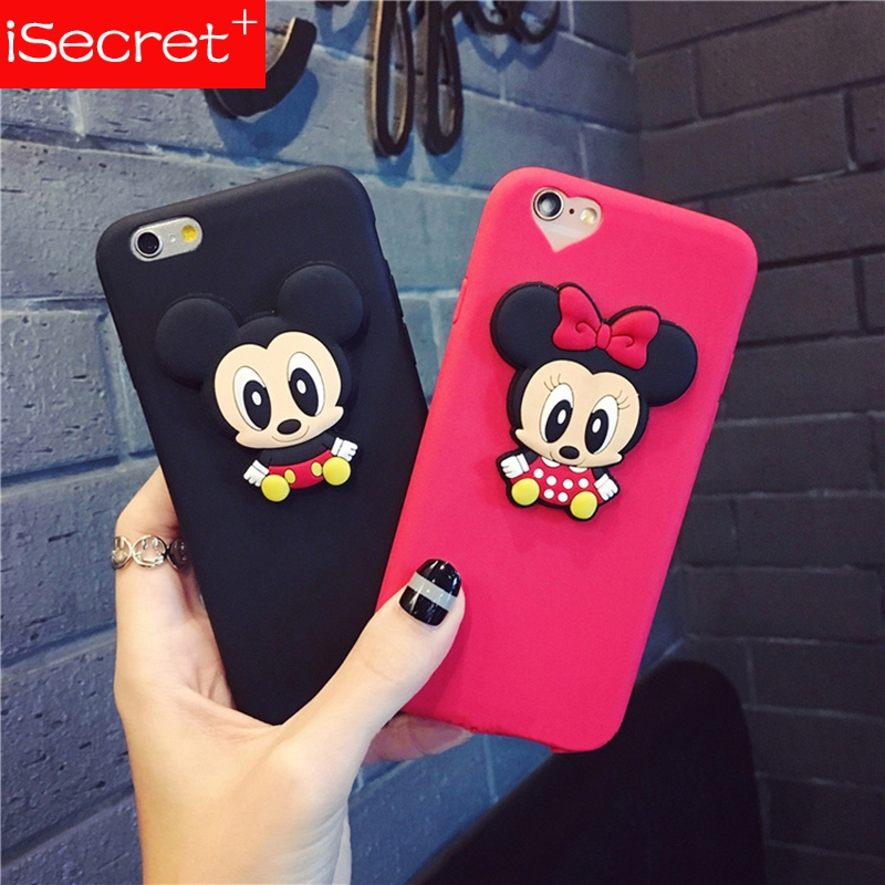 Fashion lovely 3D Cute <font><b>Mickey</b></font> Minnie mouse cartoon animal silicone TPU phone Cases for <font><b>iphone</b></font> 5 6 <font><b>6s</b></font> 7plus 8 black cover <font><b>coque</b></font> image
