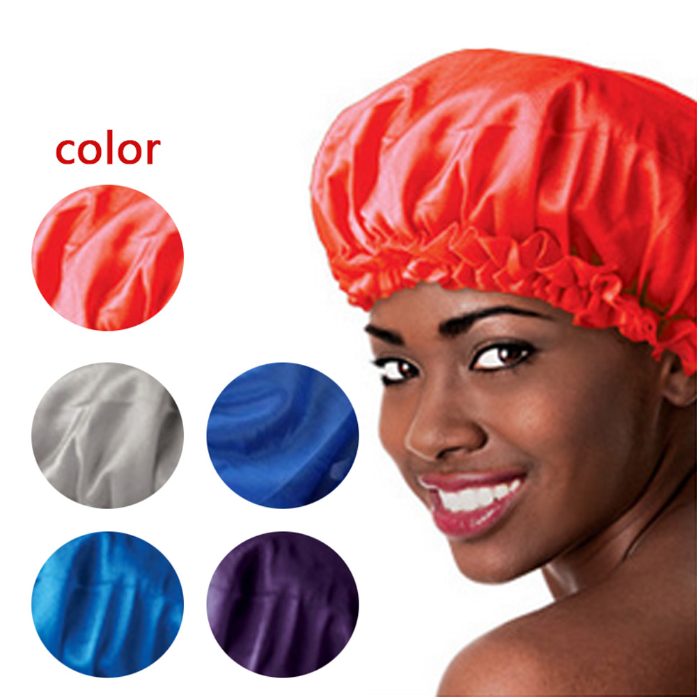 4 Colors Sleeping Hat Night Sleep Cap Hair Care Satin