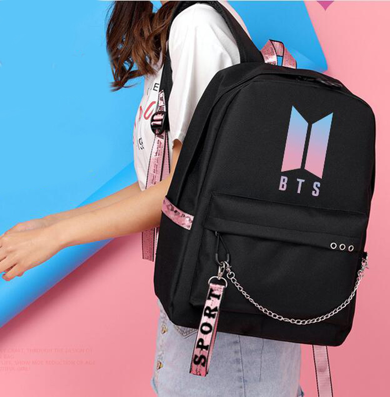 Fashion Bts Backpack School Bags For Teenage Girls Travel Shoulder Backpack Bags Canvas Print Bts Rucksack Laptop Backpack #6