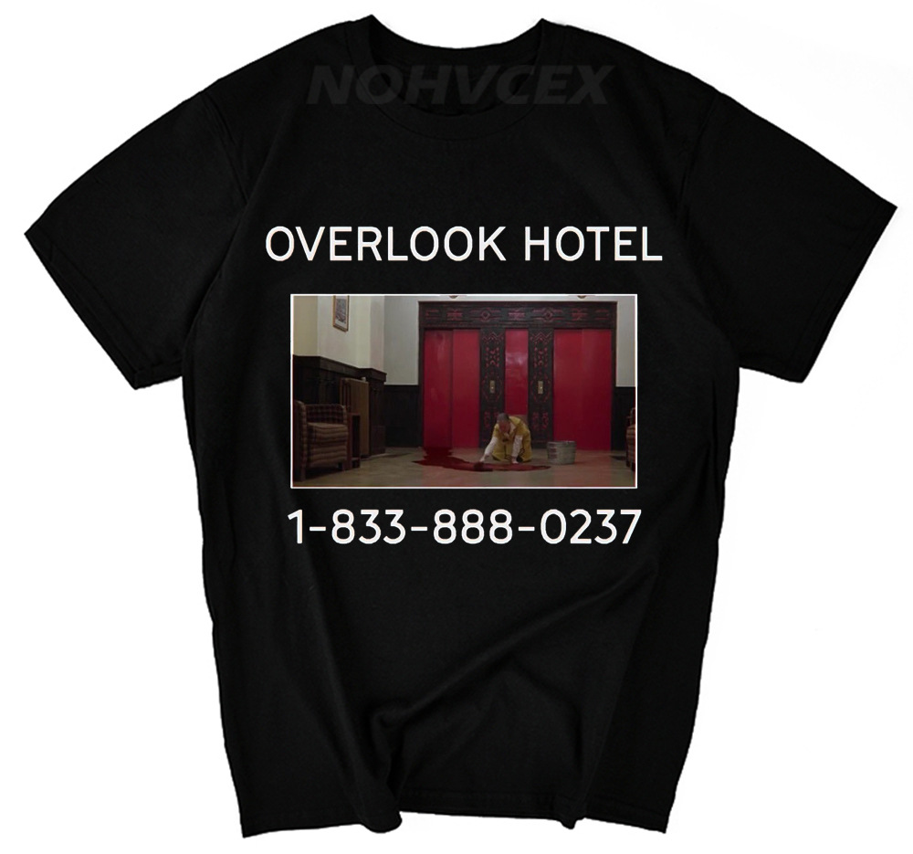 Overlook Hotel funny scary movie 70s 80s the shining jack creepy slasher horror vintage retro Mens T-shirt image