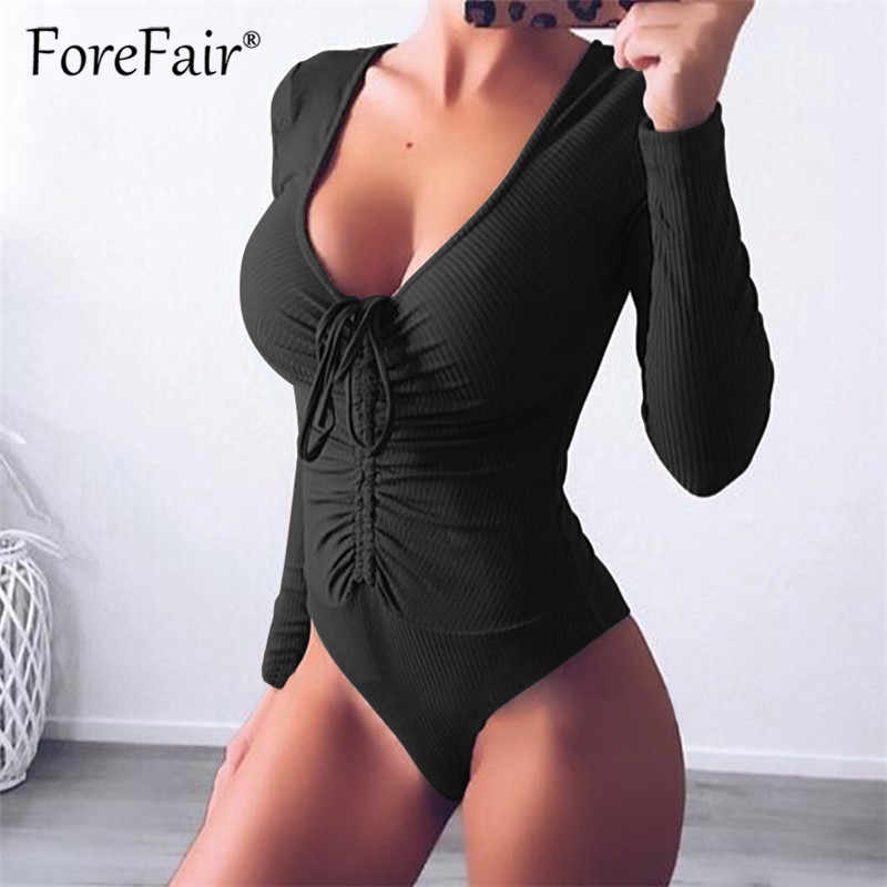 d8aca6cc1aab1a ... Forefair Slim Black Bodysuit Autumn Winter Rompers Womens Jumpsuits Long  Sleeve V Neck Drawstring Ruched Skinny ...