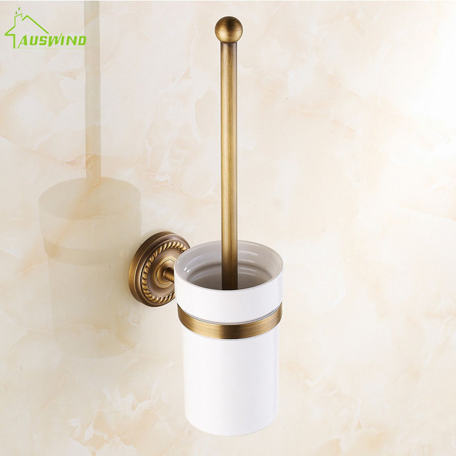 Gold Brass Toilet Cleaning Holders Antique Bronze Toilet Brush Holder Wall  Mounted Bathroom Accessories Products