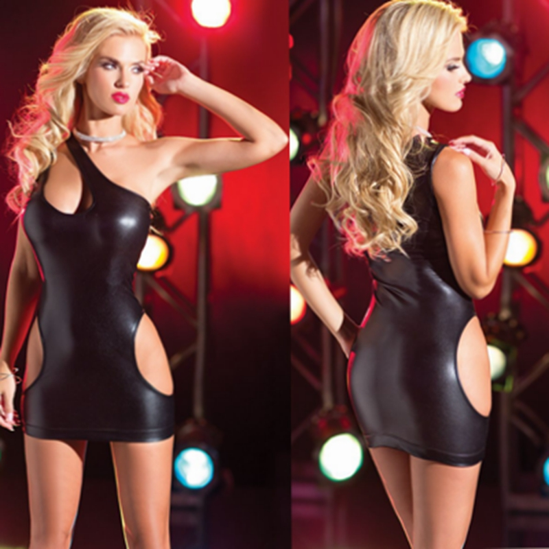 2018 Hot Sexy Black Wet Look Mini Bodycon Night Clubwear Sleeveless Faux Leather Costume Latex Costume Pole Dancing Dress