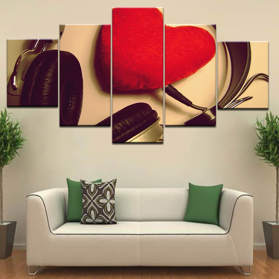 5 Panel/piece HD Print Take headphones red heart love fashion wall posters Canvas Art Painting For home living room decoration