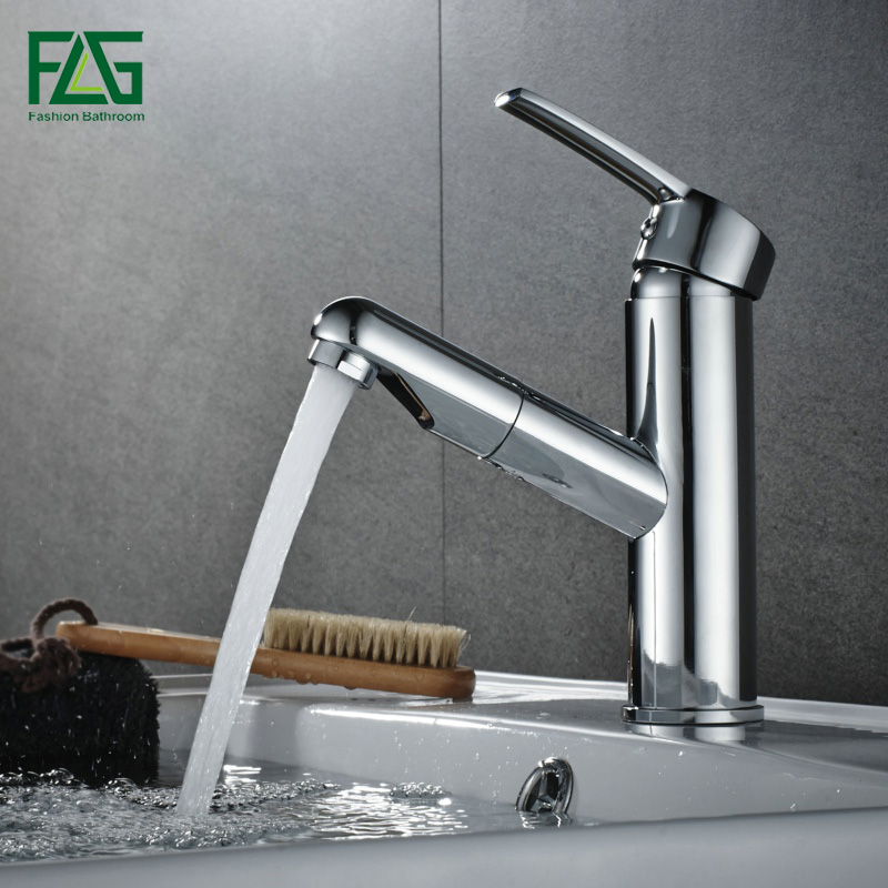 FLG Luxury Bath Pull Out faucet Solid Brass Bathroom faucets Deck Mounted Washroom Taps Chrome Color Wash Basin Tap AEG508-11C