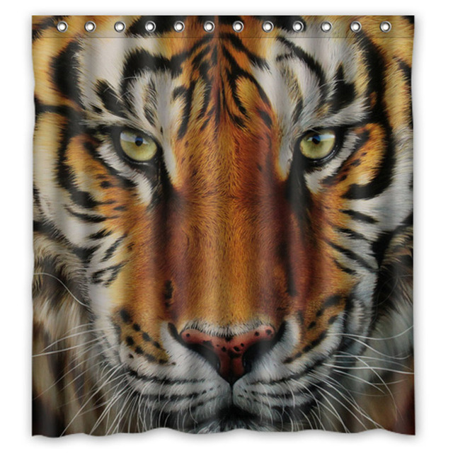 New Product Big Cat Tiger Custom Made Shower Curtains Custom Design  Creative Shower Curtain Bathroom Waterproof