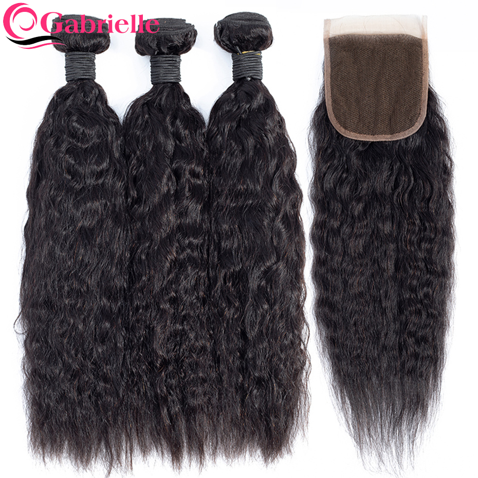 Gabrielle Kinky Straight Hair Bundles with Closure Natural Color Remy Hair Bundles with Lace Closure 100