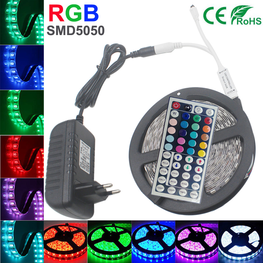 5m 4M 5050 LED Strip RGB 30LEDs/m IP20 Led Diode Tape RGB 10m 5050 SMD kit led strip 5050+44 keys IR Remote+12V Power Adapter rgb led strip smd 5050 rgb 5m diode tape with 20 keys music ir remote controller 12v 3a power adapter flexible decoration light