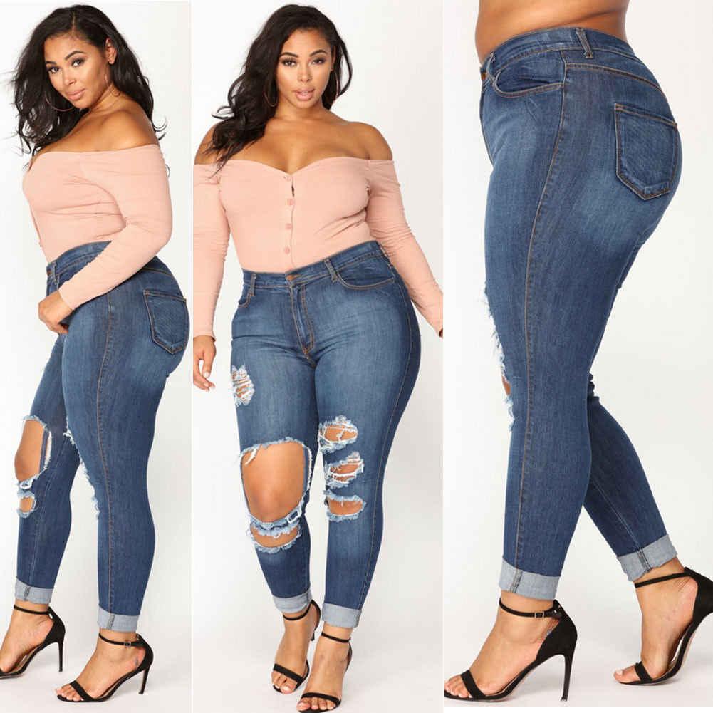 Женские Стрейчевые рваные и потёртые, брюки-скинни с завышенной талией, с высокой талией, джинсовые штаны джинсы брюки