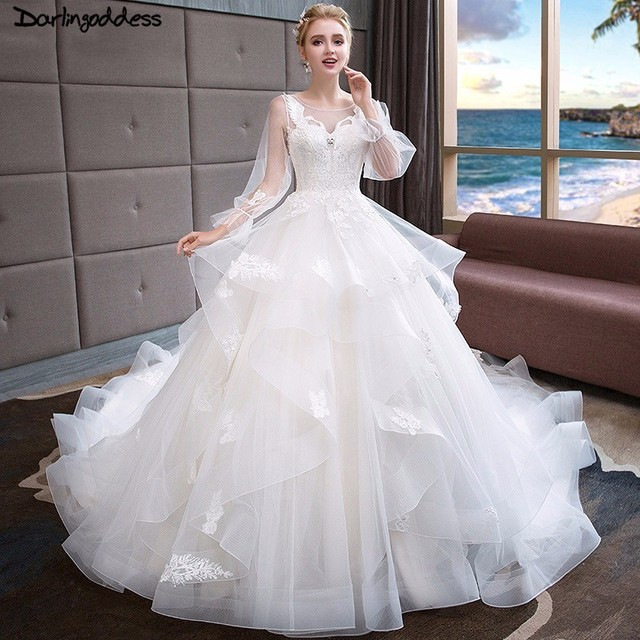 e9756c731233 Vintage Long Sleeves Muslim Wedding Dresses 2018 Ball Gown Lace Pure White  Ruched Tulle Wedding Gown Royal Train Bridal Gowns