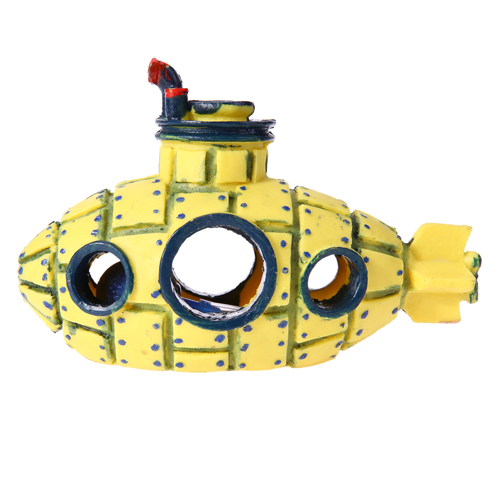 Resin Fish Tank Decoration Ornaments Aquarium Wreck Submarine ...