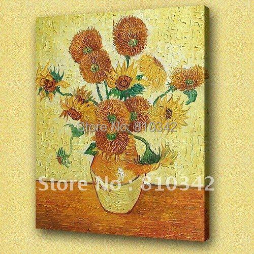 Van Goga eļļas gleznas (Saulespuķes) ar rokām apgleznotas audekla - Mājas dekors