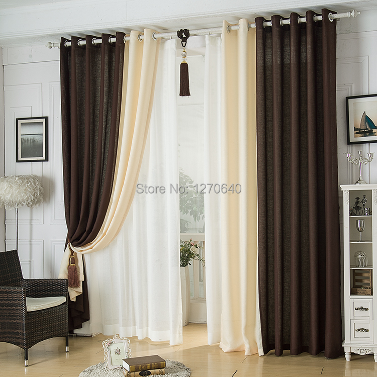 Modern linen splicing curtains dining room restaurant Dining room window curtains